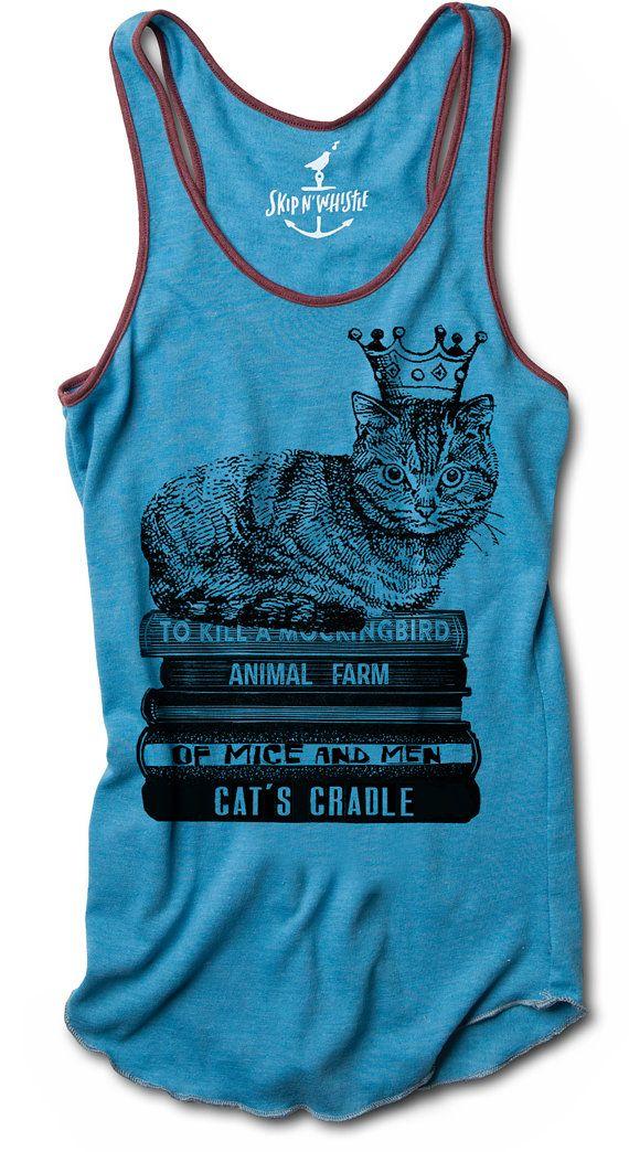 CAT TANK top wearing crown on books shirt womens racerback hakuna matata S M L XL