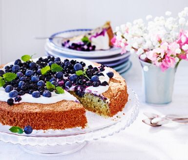 Lemon cake with blueberry and citrus glaze
