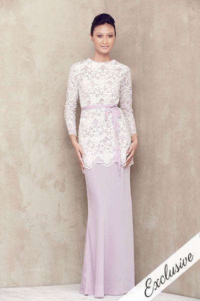 Organza Lace Baju Kurung - Lilac