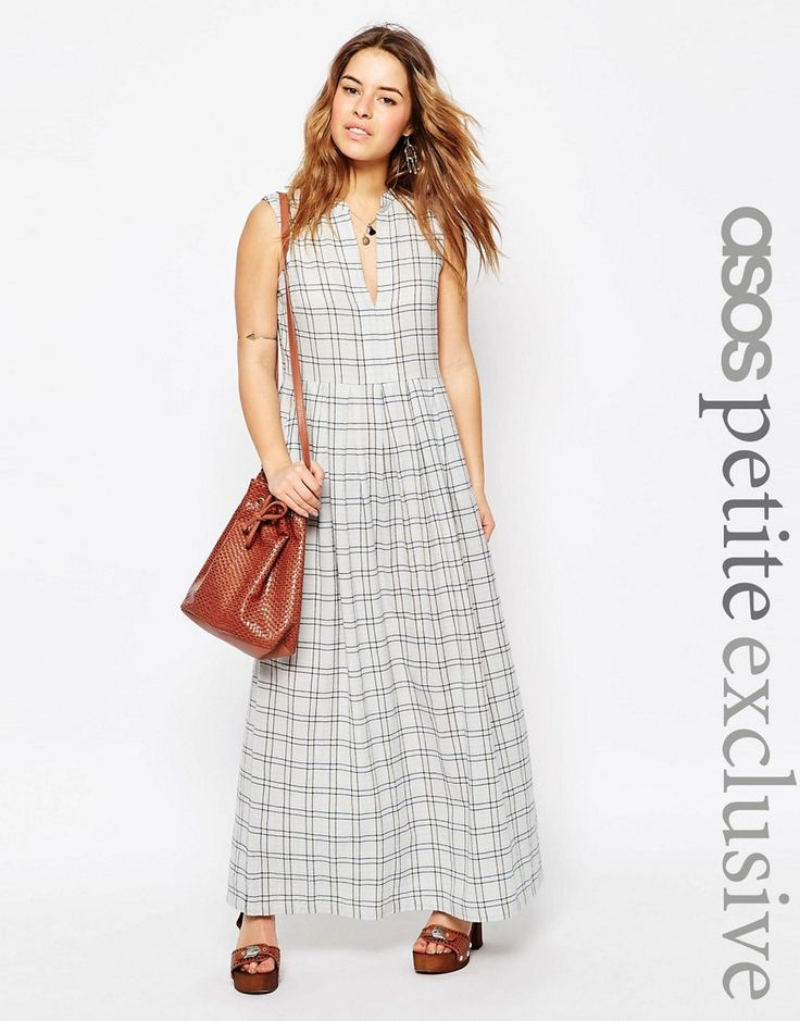 Image 1 ofASOS PETITE Maxi Dress in Natural Check