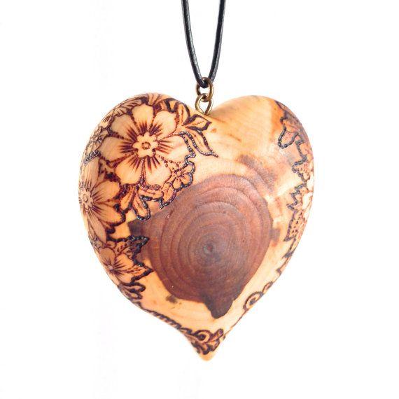 Flower Heart - wooden heart necklace, wood heart pendant, pyrography pendant, wood burned, heart necklace, wood jewelry, wood heart jewelry