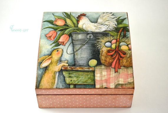 """Welcome to Woody Gift! We offer only UNIQUE HANDMADE ITEMS!  Charming Wooden Tea Box """"Easter eggs, rooster and bunny"""". Will give warm and comfortable"""
