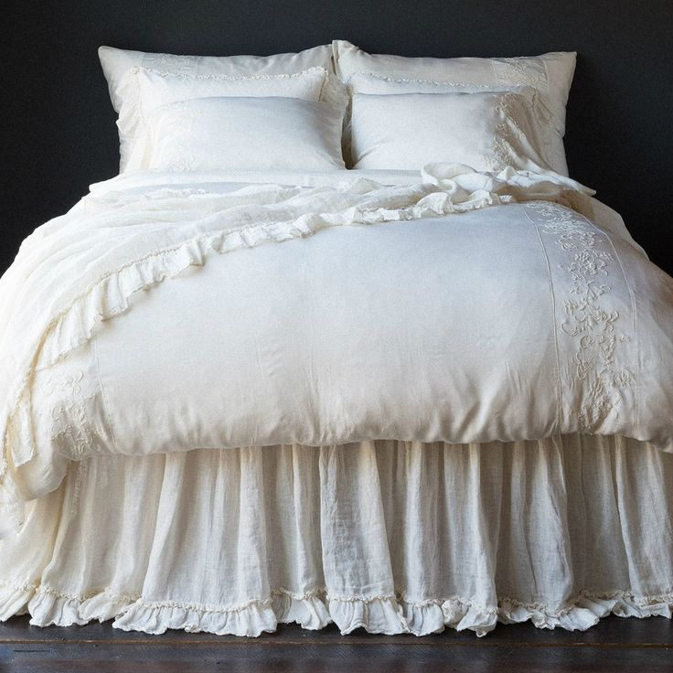 Bella Notte Linen Whisper Dust Ruffle joanna gaines bedding fixer upper season four master bedroom bed skirt ruffle bottom