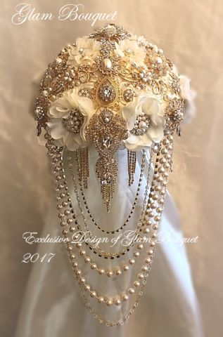 Custom Gold and Ivory Cascading Brooch Bouquet