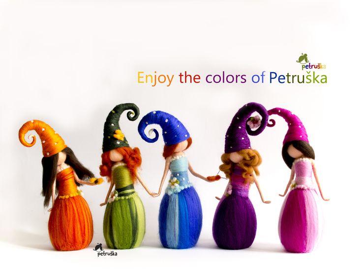 Enjoy the colors of Petruska, needle felting elves, fairies, home decor, collectable dolls, waldorf, dols,