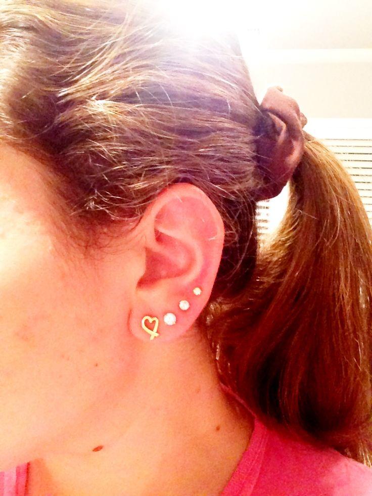 Quadruple Ear Lobe Piercing With Tiffany First Earring  Piercings