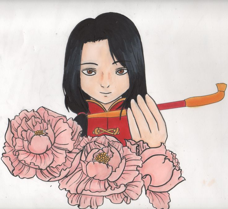 hetalia axis power china aph peony flower draw art wotk copic markers