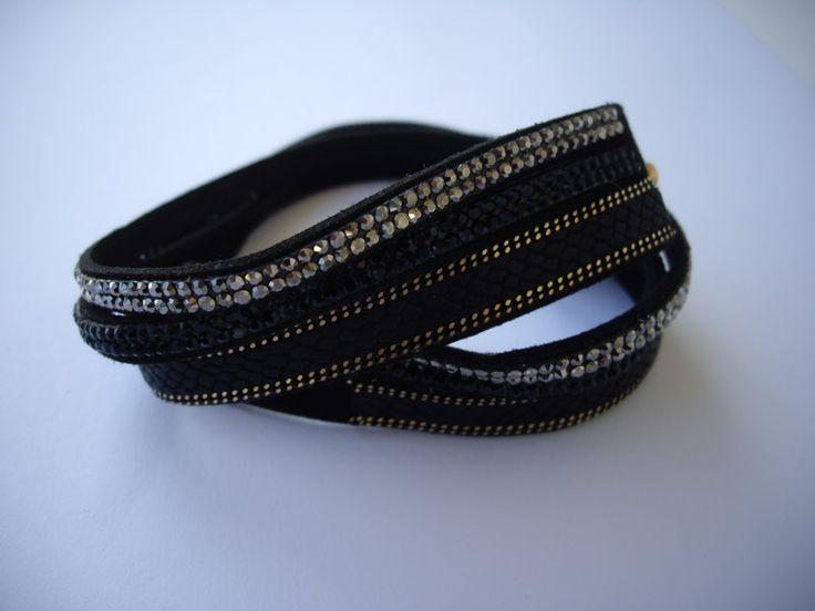 Double wrap bracelet. Code: 25016/1 #jewellery #jewelleryfromourheart #thessaloniki #bracelet #jewelry #accessories #black #chic