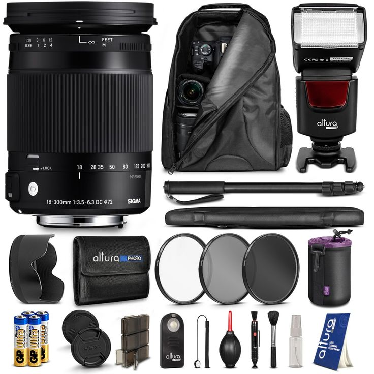"""Kit includes: #Sigma 18-300mm 3.5-6.3 DC HSM OS Macro #Lens + Camera Bag Backpack + Altura Photo Flash + 67"""" #Camera Monopod + 72mm Altura #Photo Filter Kit (UV-CPL-ND4) + Wireless Remote Control + Altura Photo Lens Pouch + AA Ultra Plus Alkaline Battery + Foldable Memory Card Case + Altura Photo Cleaning Kit + MagicFiber Cleaning Cloth"""