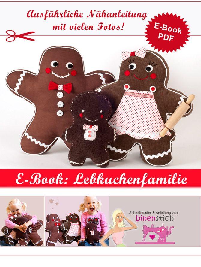 Nähen für Weihnachten: Lebkuchenmann + Familie - Anleitung & Schnittmuster…