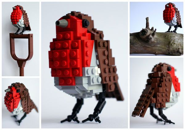 Adorable birds made out of LEGOs
