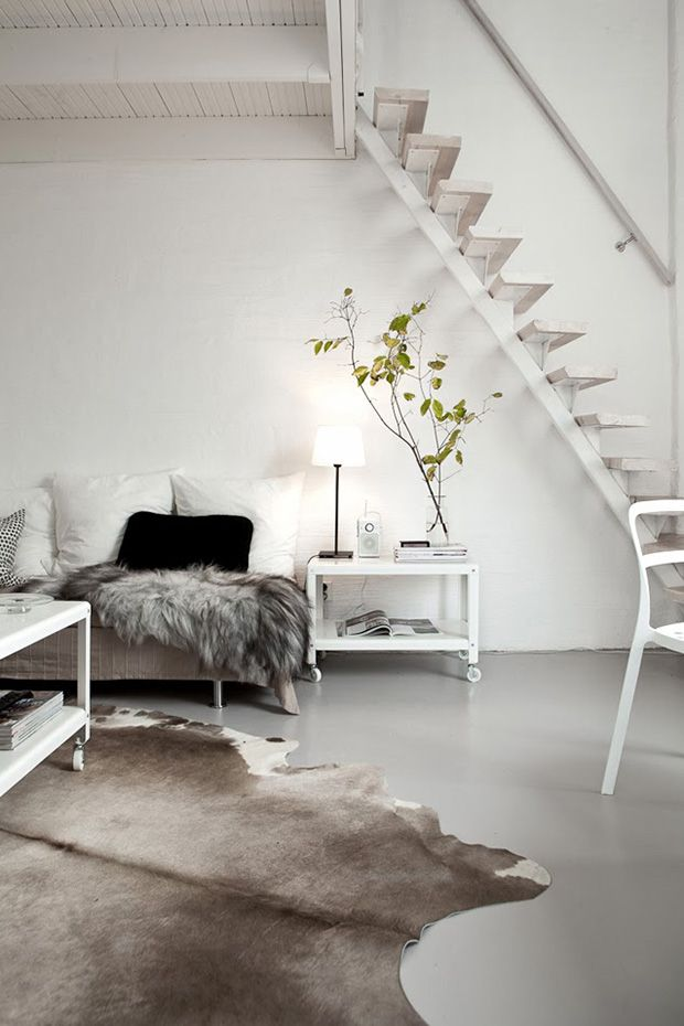light and bright loft with cozy scandi details