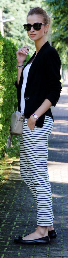 Zara Black And White Women's Striped Trousers by Beauty - Fashion - Shopping