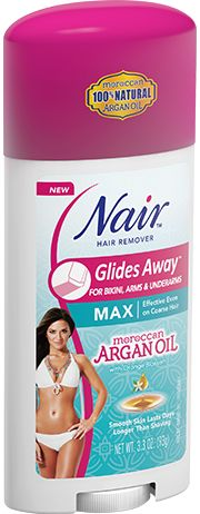 Nair™ Moroccan Argan Oil Glides Away™ | The easy, touch-free way to remove hair, even in hard-to-reach places.