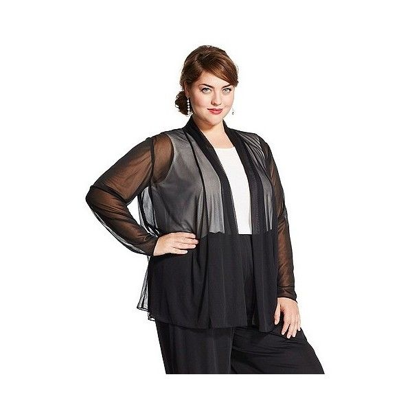 Women's Plus Size Woven Layering Top Black ($12) ❤ liked on Polyvore featuring tops, black, plus size, feather top, dressy tops, plus size sheer shirt, plus size sheer tops and plus size dressy tops