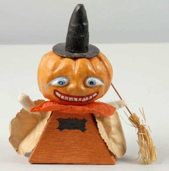 halloween pumpkin head candy container german cardboard base paper sleeves crepe paper - Antique Halloween Decorations
