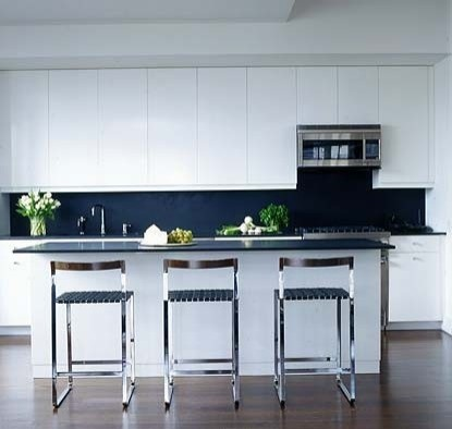 Black contrast with white kitchen