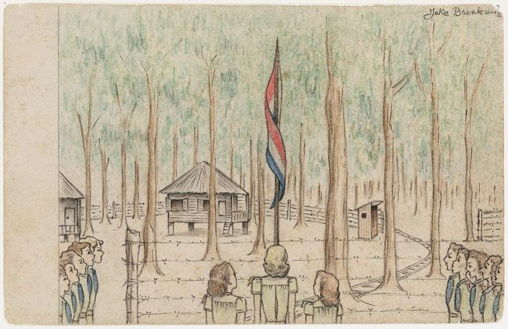 Raising the flag by Joke Broekema, 1945. Museon, CC BY