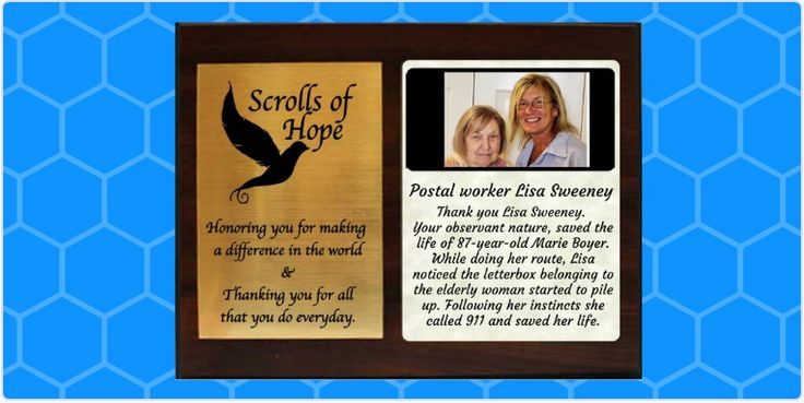 """Sending a Plaque of #Appreciation to Postal Worker,  Lisa Sweeney, a true #hero Send us your #heroes Not just a """"Message in a Bottle' It's all about 'Connection'"""