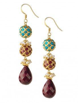 Ruby-Pearl Earrings