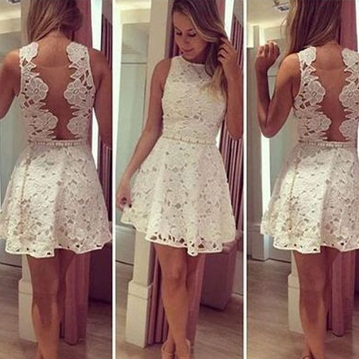 Scoop White Lace Sleeveless Popular Pretty Homecoming Dresses The short white lace homecoming dresses are fully lined, 8 bones in the bodice, chest pad in the bust, lace up back or zipper back are all