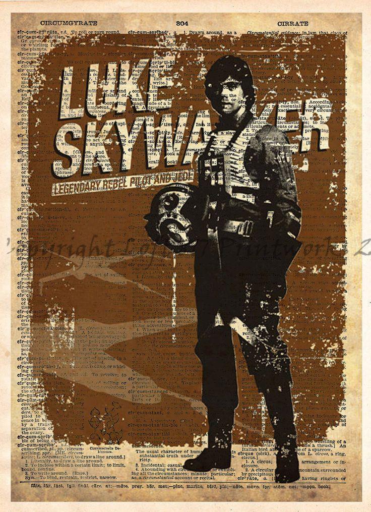 Star Wars Art, Luke Skywalker, Vintage Silhouette print, Retro Star Wars Art, Dictionary print art