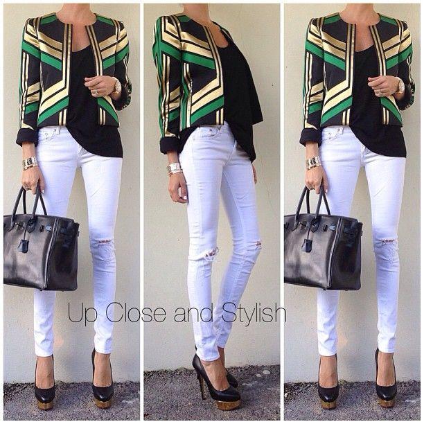 Sunday brunch outfit -  #Gucci blazer, #MyLine tanktop, #Rag_Bone jeans, #Charlotte_Olympia heels and #Hermès #Birkin bag so black.