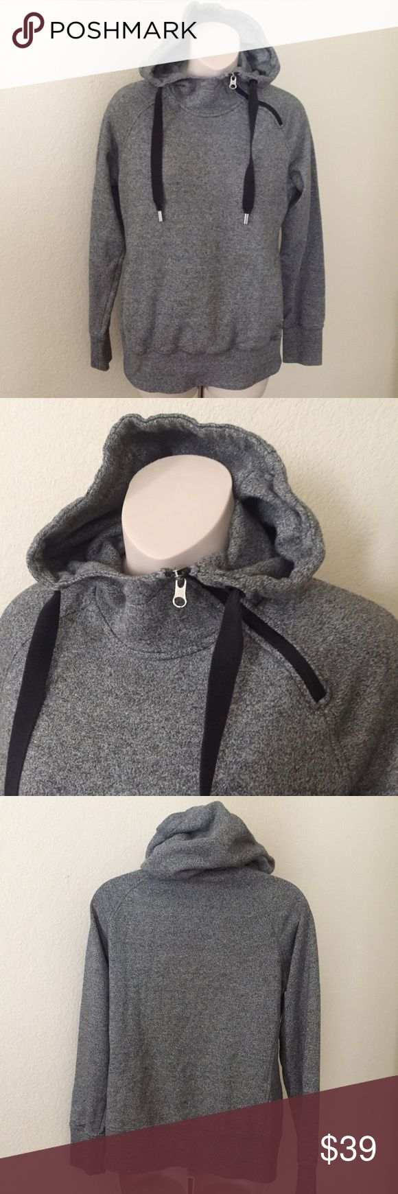 """The North Face Pullover Hoodie Sweatshirt S This is a North Face Pullover Hoodie. It is long sleeve with front pockets. Size small. Asymmetrical zipper on the top. Also has drawstring. Made of cotton/polyester blend. Bust 38"""" waist 39"""" length 25"""". Mint condition. No flaws. The North Face Jackets & Coats Utility Jackets"""
