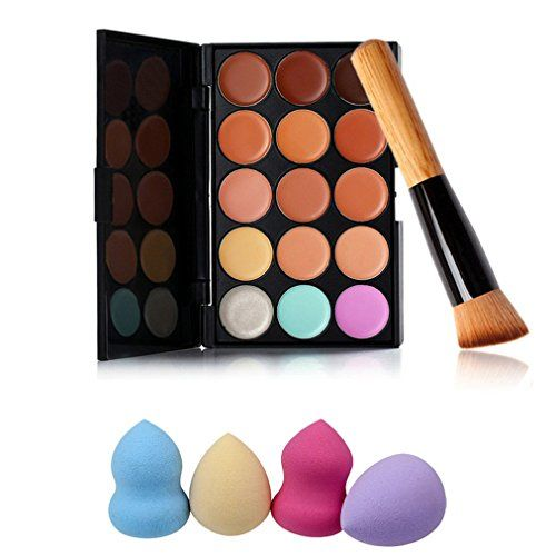 Pure Vie Pro 1 Pcs Make Up Brushes  4 Sponge Puff  15 Colors Cream Concealer Camouflage Makeup Palette Contouring Kit for Salon and Daily Use ** You can find more details by visiting the image link.
