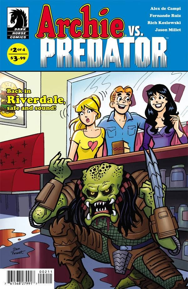"""""""Marking a significant improvement over issue #1 Archie vs. Predator #2 is all fun all the time. I'm giddy just imagining who'll be decapitated next issue, it's a good sign that this book has its claws in me."""" -Bloody Disgusting on Archie Vs Predator #2"""