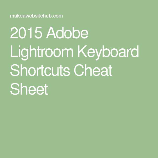 2015 Adobe Lightroom Keyboard Shortcuts Cheat Sheet
