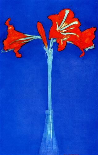 Amaryllis -   Artista: Piet Mondrian (1872-1944) Data da Conclusão: 1910 Estilo: Fauvism Género: flower painting Técnica: watercolor Dimensões: 49,2 x 31,5 cm Galeria: Private Collection