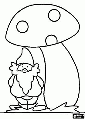 Gnome under a mushroom coloring page
