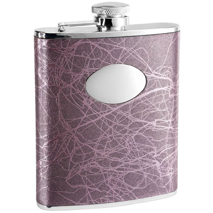Visol Lightning Purple Liquor Flask - 6 ounces (Purple) (Leather)