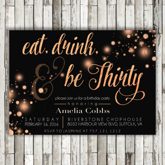 Printable Eat Drink & Be Thirty Birthday by KeepingCaseyDesigns