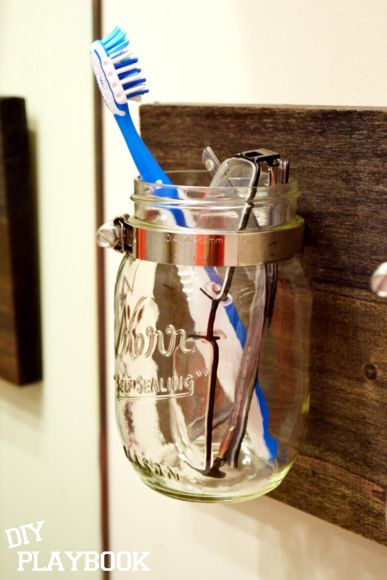 How to Create a Mason Jar Organizer - DIY Playbook -- for q tips and cotton balls in the upstairs bathroom