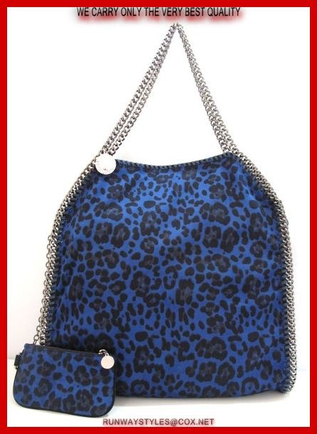 "Stella McCartney Falabella Chain Bag in Midnight Leopard!  Leopard-print fabric (polyester, nylon, spandex).   Signature whipstitching and silvertone curb-chain trim, top handles with 9 chain straps.   ""Stella McCartney"" charm hangs from top handles.   Slouchy, yet structured body may be folded over and carried like a clutch.   Dipped top with magnetic-snap closure.   Measures 16"" long, 16"" high, 4"" deep.8"" drop"