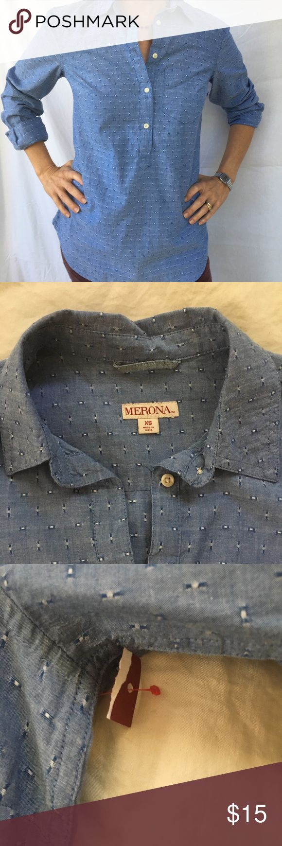 Merona ladies oxford Blue chambray collared shirt buttons part way down. 100% Cotton new with tags. Tag is torn as shown. Mossimo Supply Co Tops Button Down Shirts