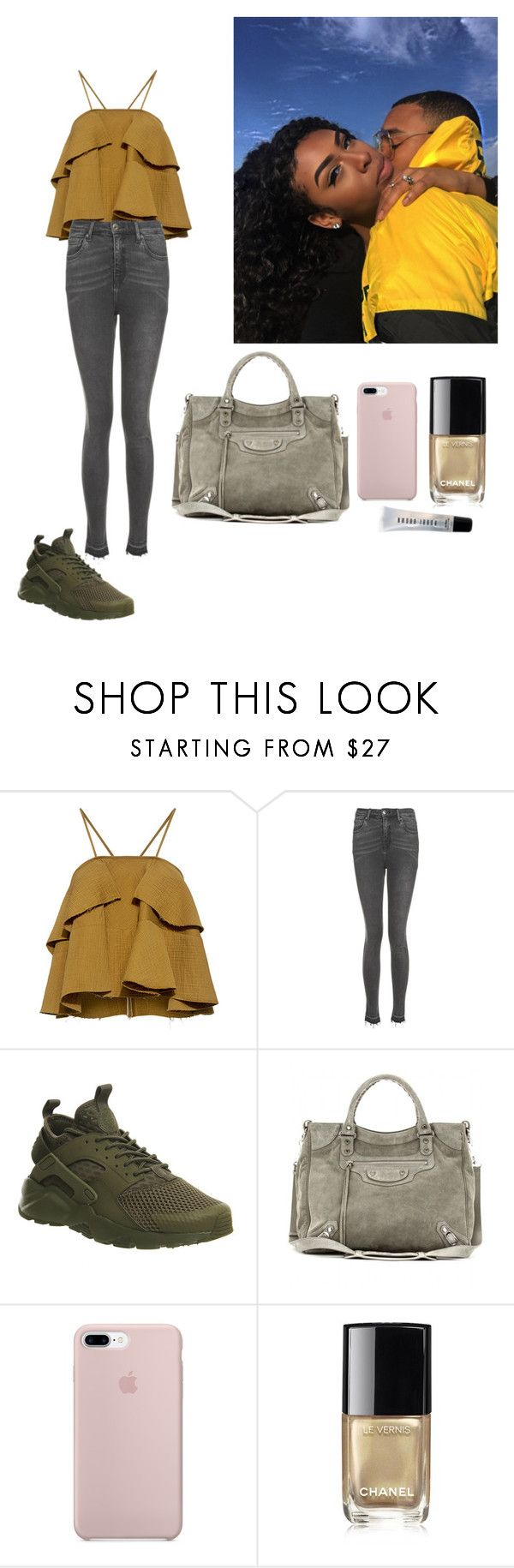 """""""Kaki 2 #outfit"""" by morbsv ❤ liked on Polyvore featuring Rachel Comey, Topshop, NIKE, Balenciaga, Chanel and Bobbi Brown Cosmetics"""