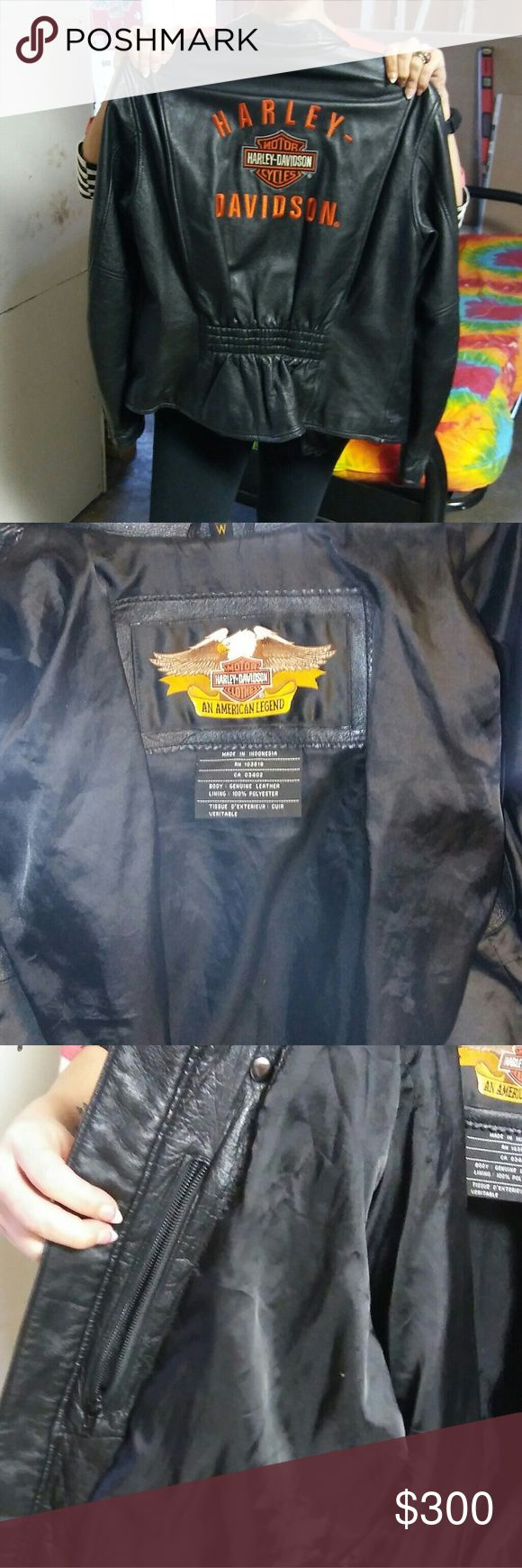 Ladies Medium real Harley-Davidson leather jacket Is a Harley Davidson jacket it is got inside pocket fits, the inside liner is polyester it has the original silver Harley-Davidson mark on the front of it and you can see by the pictures that it is authentic you can see the numbers. Any lady would love to have it. Harley-Davidson Jackets & Coats