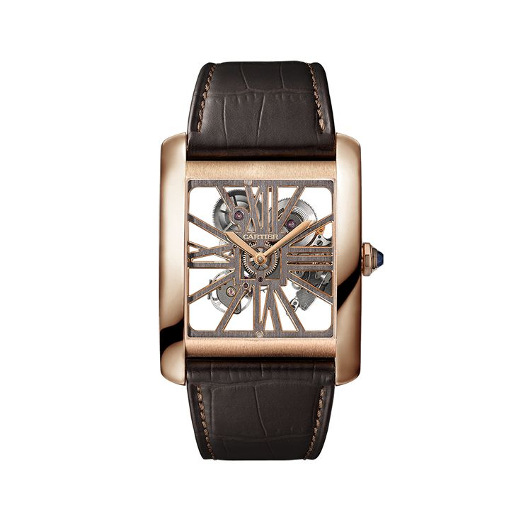 The Tank MC skeleton watch stunningly reinterprets a signature aesthetic of the Cartier Fine Watchmaking collection with a two-tone movement that emphasizes the contrast of black and pink.