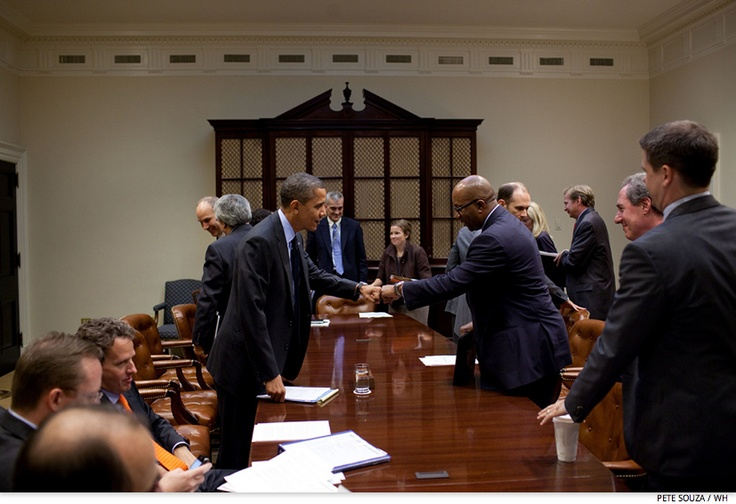 U.S. Trade Representative Ron Kirk bumps fists with Obama after a meeting in the Roosevelt Room of the White House, Oct. 28, 2010.