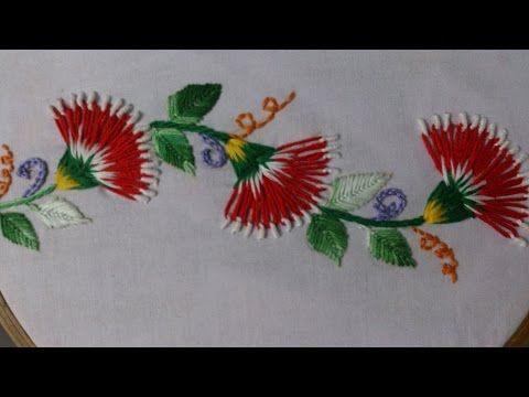 Girasol en una toalla bordado en cintas! 3/3 - YouTube