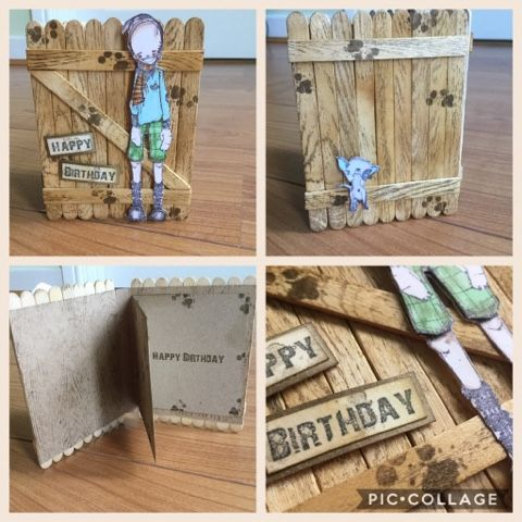 Had such fun making this project..what was going to be a mini book ended up as a birthday card!   Turned some lolly sticks into a fence...