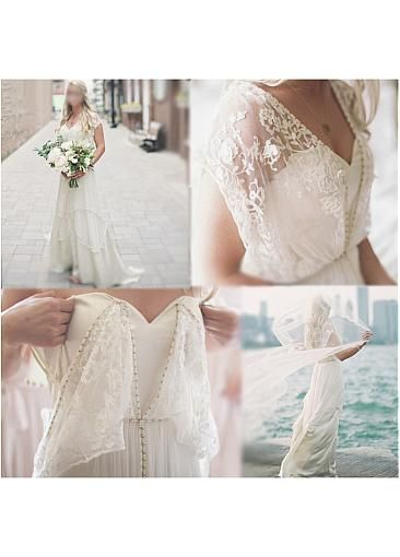[311.99]  Fantastic Lace & Tulle A-line V-neck Wedding Dress with Beading