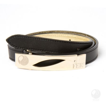 FERI - Rosaria Belt - Black - Ladys waist belt - Made from genuine cow leather - Rich black colour - Hand made and hand dyed - Buckle is custom engraved with FERI logos - Embellished with sparkling clear stone  Please refer to size chart to determine your size. www.gwtcorp.com/ghem or email fashionforghem.com for big discount