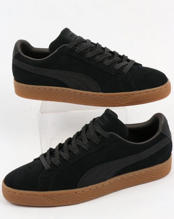 Puma Suede Classic Premium Trainers Black with Gum sole  b7dc7a441