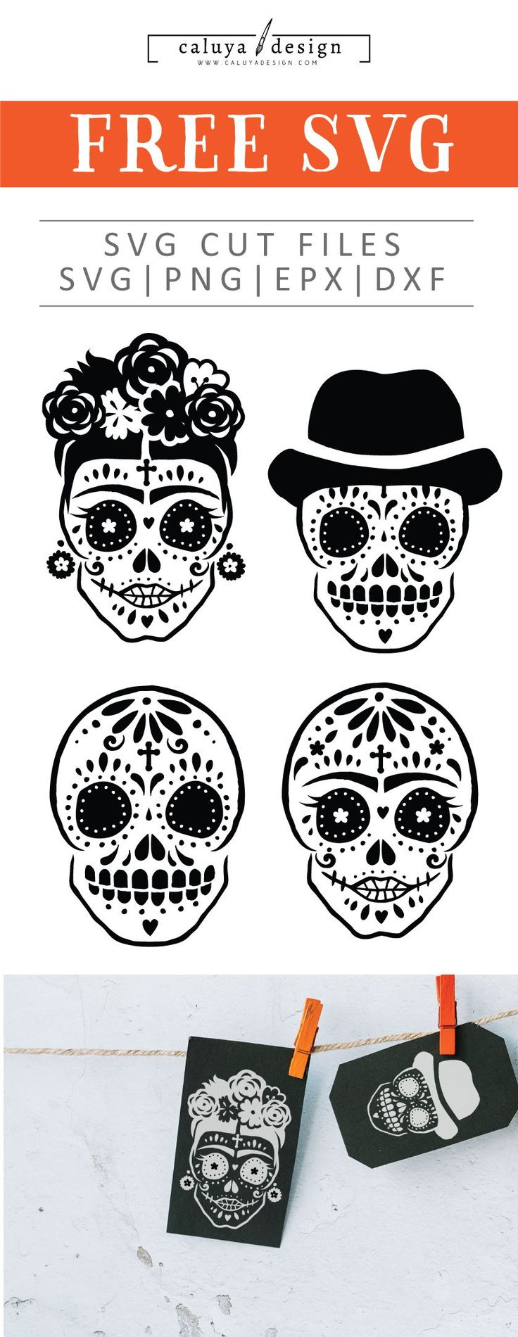 Free Hand-drawn Sugar Skull SVG, PNG, EPS & DXF by