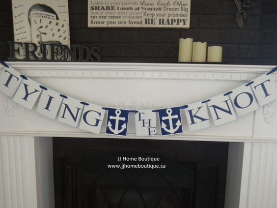 Nautical Theme Tying the Knot Banner for bridal by JJHomeBoutique