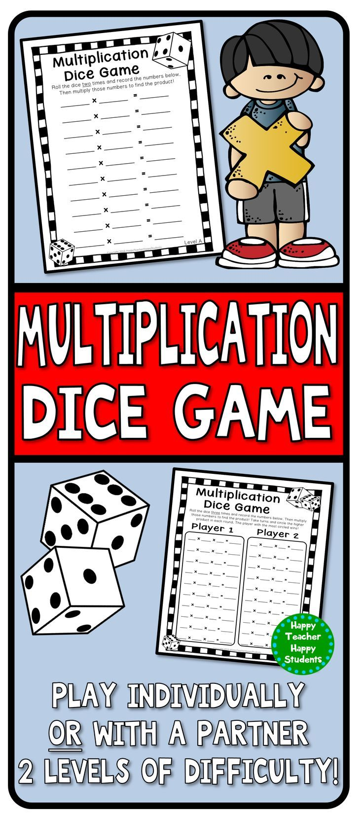 All you need for these Multiplication Dice Games are dice and these printable Multiplication games! Students roll the dice 2 times (Level A) or 3 times (Level B) and multiply the numbers they roll. This game can be played individually or with a partner.